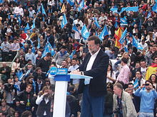 Prime Minister Rajoy of Spain gives an address.
